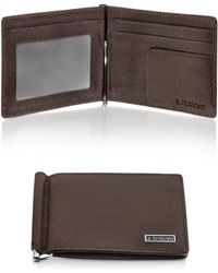 A.Testoni - Dark Brown Printed Caviar Calf Leather Billfold with Money Clip - Lyst