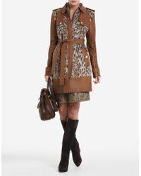 BCBGMAXAZRIA Blake Leopard-print Faux-fur Trench Coat - Lyst