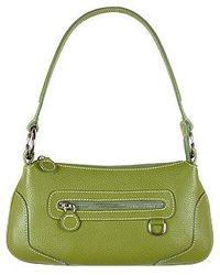 Buti - Front Zip Green Italian Nappa Leather Baguette Bag - Lyst