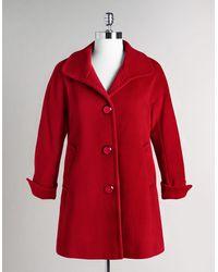 Ellen Tracy Single Breasted Wool Blend Coat - Lyst