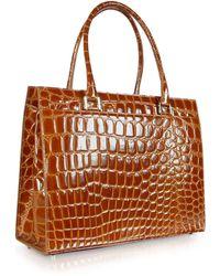 Giorgio Fedon - Spiga Wib - Brown Croco Stamped Calfskin Business Bag - Lyst