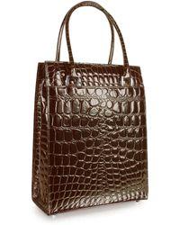 Giorgio Fedon - Spiga Wib - Dark Brown Croco Stamped Business Tote Bag - Lyst