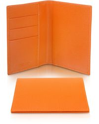 Giorgio Fedon - Class Collection - Orange Grained Leather Passport & Card Holder - Lyst