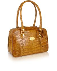 L.a.p.a. Camel Croco Stamped Italian Leather Shoulder Bag - Lyst