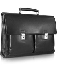 Moreschi - Front Pockets Leather Briefcase W/laptop Sleeve - Lyst