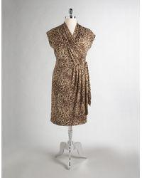 Ak Anne Klein - Plus-size Leopard Print Wrap Dress - Lyst