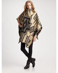 Pendleton Reversible Wool and Cotton Cape - Black