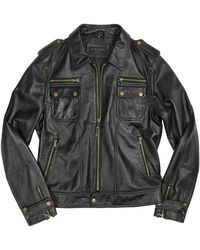 Forzieri Black Genuine Italian Leather Motorcycle Zip Jacket - Lyst