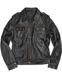 Forzieri Black Genuine Italian Leather Motorcycle Zip Jacket - Lyst