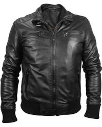 Forzieri Men'S Black Leather Motorcycle Jacket - Lyst