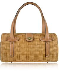 FORZIERI - Capaf Line Light Brown Wicker and Leather Barrel Bag - Lyst