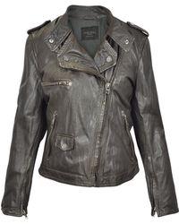 Forzieri Dark Brown Asymetrical Zip Leather Motorcycle Jacket - Lyst