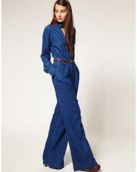 ASOS Collection Asos Denim Frill Collar Jumpsuit - Lyst