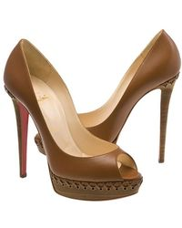 Christian Louboutin Lady Indiana Braided Leather Platform Court Shoes - Brown