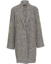 Horiyoshi III Cashmere Knit Cardigan with Embroidered Arms - Gray