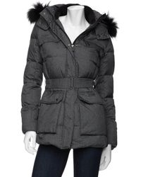 Add Preorder Belted Fur Trim Hooded Parka Puffer Jacket - Lyst