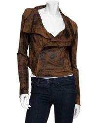 Georgie Julia Distressed Moto Jacket: Brown