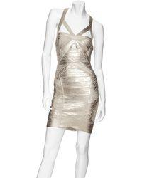 Hervé Léger Womens Crisscross Metallic Bandage Dress - Lyst