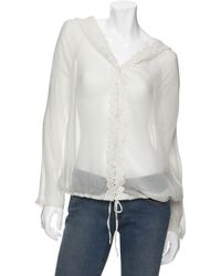 Love Sam Floral Embroidered Chiffon Hoodie - White