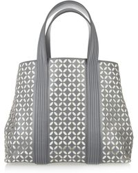 Alaïa Perforated Petal-design Leather Tote gray - Lyst