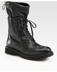 Prada Leather Lace-up Wing Tip Boots - Black