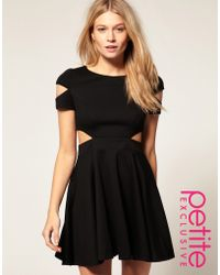 ASOS Collection Asos Petite Exclusive Fit and Flare Dress with Cut Out Side - Lyst