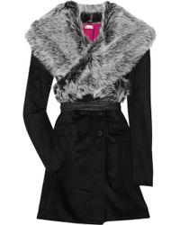 Foley + Corinna Faux Fur-trimmed Wool-blend Coat - Black