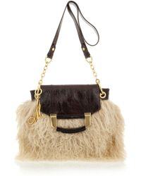 MILLY - Kiki Shearling and Patent-leather Bag - Lyst