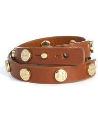 Tory Burch Double Wrap Logo Bracelet - Cuoio/ Gold - Lyst