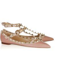 Valentino Studded Leather Ballerina Flats - Lyst