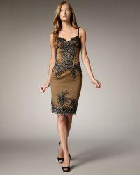 Julian Joyce By Mandalay Beaded Lace & Satin Dress - Lyst