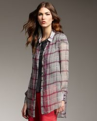 Theyskens' Theory Sheer Silk Plaid Button-front Shirt - Lyst