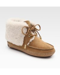 Tory Burch Nathan Suede and Shearling Ankle Boots - Lyst