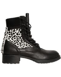 American Retro 35mm Calfskin and Ponyskin Lace Up Boots - Lyst
