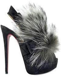 Christian Louboutin 150 Mm Splash Fur Fox Sandals gray - Lyst