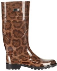 Dolce & Gabbana Rubber Leopard Print Boots - Lyst