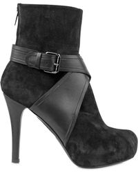 Gianna Meliani 110mm Suede and Calf Buckled Low Boots - Lyst