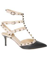 Valentino 65mm Studded Brushed Calfskin Sandals - Lyst