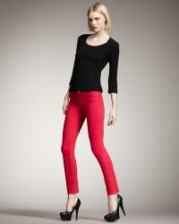 J Brand 811 Mid-rise Skinny Twill Jeans, Shocking Pink - Lyst