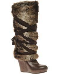Aldo Aldo Dannis Long Wedge Faux Fur Boots - Lyst