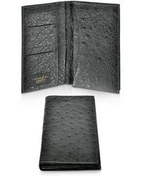A.Testoni - Black Ostrich Coat Wallet - Lyst