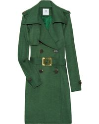 Halston Heritage Wool and Cashmere-blend Trench Coat green - Lyst