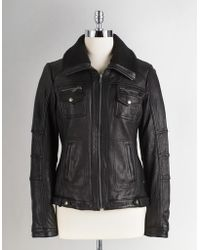 Michael Kors Leather Bomber Jacket with Faux Fleece Collar - Lyst