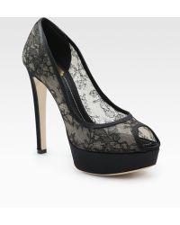 Dior Lace Peep Toe Platform Pumps black - Lyst
