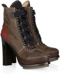Rag & Bone Astrid Leather-blend Lace-up Ankle Boots - Brown