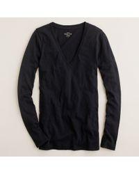 J.Crew Vintage Cotton Long-Sleeve V-Neck Tee black - Lyst