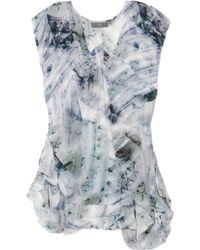 McQ by Alexander McQueen Printed Stretchgeorgette Tunic blue - Lyst