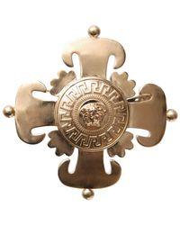 Versace Gold Logo Brooch gold - Lyst