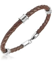 Just Cavalli - Brown Braided Leather Bracelet - Lyst