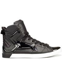 Zara High-top Patent Leather Sneaker black - Lyst